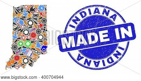 Technical Indiana State Map Mosaic And Made In Textured Stamp Seal. Indiana State Map Collage Design