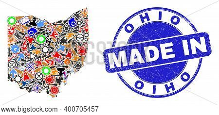 Production Ohio State Map Mosaic And Made In Distress Rubber Stamp. Ohio State Map Mosaic Designed W