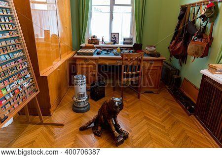 Veshenskaya, Russia - Circa October, 2020: Sholokhovs Hunting Preparation Room