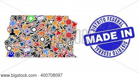 Industrial Brazil Distrito Federal Map Mosaic And Made In Distress Rubber Stamp. Brazil Distrito Fed
