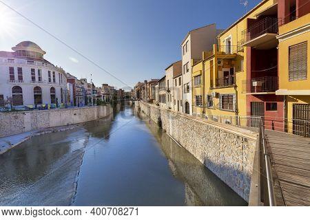 Orihuela, Spain - November 16, 2019: View Of The Spanish City Of Orihuela On The Banks Of The Segura