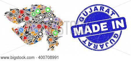 Industrial Gujarat State Map Mosaic And Made In Scratched Rubber Stamp. Gujarat State Map Abstractio