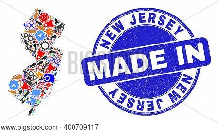 Technical New Jersey State Map Mosaic And Made In Scratched Stamp. New Jersey State Map Collage Form