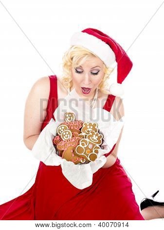 Ecstatic young woman looking at christmas cookies. while sitting on a white background MUA and Model: Amanda Wynne www.awynnemakeup.com poster