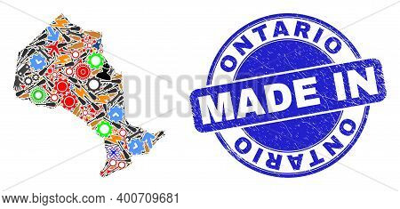 Engineering Mosaic Ontario Province Map And Made In Scratched Seal. Ontario Province Map Mosaic Form