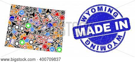 Industrial Wyoming State Map Mosaic And Made In Grunge Stamp Seal. Wyoming State Map Mosaic Composed