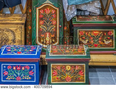 Corund, Transylvania, Romania - July 11, 2020: Decorative Wooden Crates, Painted With Traditional Hu