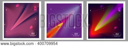 Set Of Creative Abstract Outer Space Background.glowing Space Object, Galaxy, Planet, Comet, Meteori