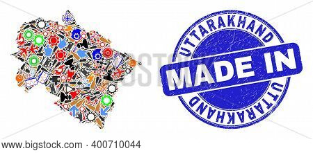Component Mosaic Uttarakhand State Map And Made In Scratched Stamp Seal. Uttarakhand State Map Colla