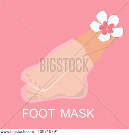 Image Of Naked Female Feet In A Foot Mask On A Pink Background With A Flower
