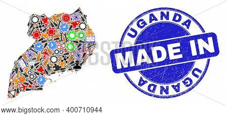 Engineering Mosaic Uganda Map And Made In Distress Rubber Stamp. Uganda Map Collage Composed With Wr