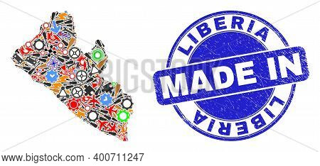 Engineering Mosaic Liberia Map And Made In Grunge Rubber Stamp. Liberia Map Abstraction Formed With