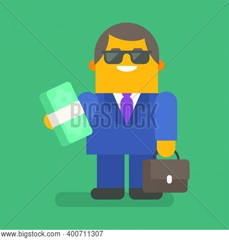 Businessman Holding Wad Of Money And Suitcase. Vector Character. Vector Illustration