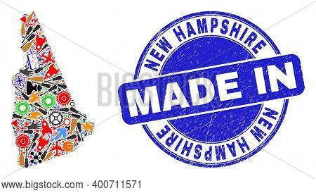 Service New Hampshire State Map Mosaic And Made In Distress Rubber Stamp. New Hampshire State Map Ab