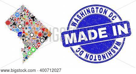 Development Washington District Columbia Map Mosaic And Made In Grunge Rubber Stamp. Washington Dist