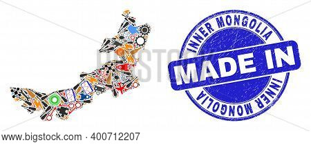 Technical Inner Mongolia Map Mosaic And Made In Textured Stamp. Inner Mongolia Map Mosaic Created Fr