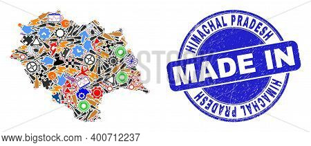 Engineering Himachal Pradesh State Map Mosaic And Made In Scratched Stamp. Himachal Pradesh State Ma
