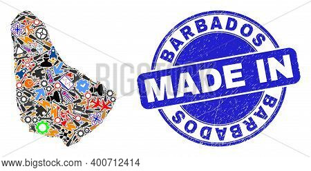Technical Barbados Map Mosaic And Made In Grunge Rubber Stamp. Barbados Map Abstraction Formed With