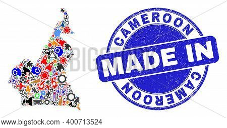 Development Cameroon Map Mosaic And Made In Textured Rubber Stamp. Cameroon Map Mosaic Designed With