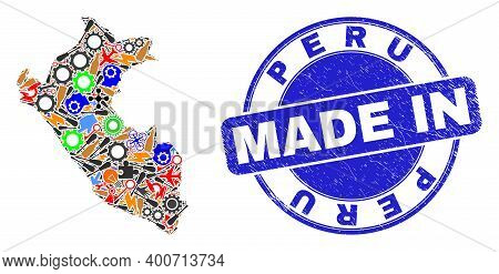 Component Peru Map Mosaic And Made In Textured Rubber Stamp. Peru Map Abstraction Formed With Wrench