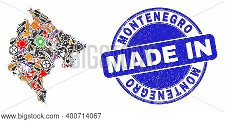 Industrial Montenegro Map Mosaic And Made In Textured Rubber Stamp. Montenegro Map Collage Composed