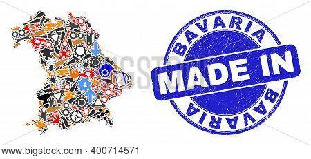 Development Mosaic Bavaria Land Map And Made In Textured Rubber Stamp. Bavaria Land Map Mosaic Creat