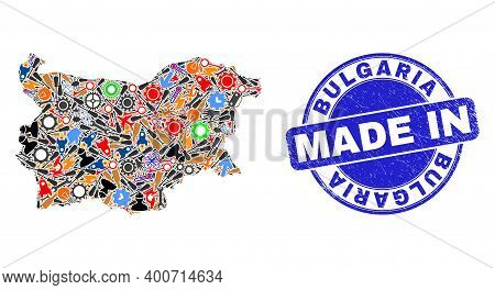 Development Bulgaria Map Mosaic And Made In Scratched Stamp. Bulgaria Map Collage Formed With Spanne