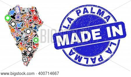 Component Mosaic La Palma Island Map And Made In Distress Stamp. La Palma Island Map Collage Created