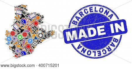 Service Barcelona Province Map Mosaic And Made In Distress Rubber Stamp. Barcelona Province Map Comp