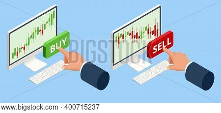 Isometric Investing And Stock Market Gain And Profits With Red And Green Candlestick Charts. Stock E