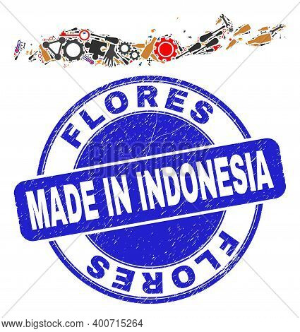 Engineering Mosaic Flores Islands Of Indonesia Map And Made In Scratched Stamp. Flores Islands Of In