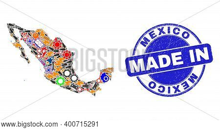 Development Mosaic Mexico Map And Made In Distress Rubber Stamp. Mexico Map Mosaic Designed With Spa