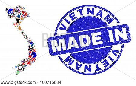 Engineering Mosaic Vietnam Map And Made In Distress Stamp Seal. Vietnam Map Composition Formed With