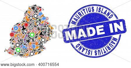 Engineering Mosaic Mauritius Island Map And Made In Textured Rubber Stamp. Mauritius Island Map Abst