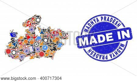Production Mosaic Madhya Pradesh State Map And Made In Scratched Stamp Seal. Madhya Pradesh State Ma