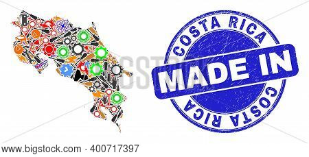 Component Mosaic Costa Rica Map And Made In Distress Stamp Seal. Costa Rica Map Collage Created With