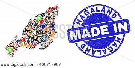 Component Mosaic Nagaland State Map And Made In Textured Stamp. Nagaland State Map Mosaic Designed W