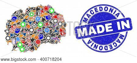 Engineering Mosaic Macedonia Map And Made In Scratched Rubber Stamp. Macedonia Map Mosaic Designed W