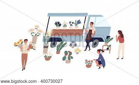 Male Florist Vendor In Apron Selling Flowers From Van At Local Market Vector Flat Illustration. Man