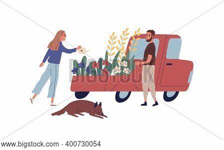 Man And Woman Gardeners Selling Flowers From Van Vector Flat Illustration. Male Customer Choosing Ga