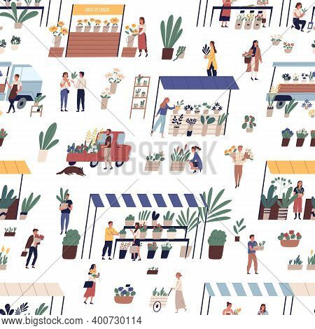 Local Outdoor Flower Market Or Street Fair Seamless Pattern. People Customers And Florists Selling B