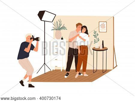 Love Story Photoshoot Session. Family Photographer Taking Pictures Or Shooting Posing Couple In Phot