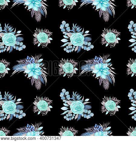 Seamless Pattern Botanical Arrangement, Blooming Magnolia, Rose On A Black Background Flower Arrange