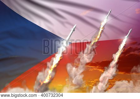 Czechia Supersonic Missile Launch - Modern Strategic Nuclear Rocket Weapons Concept On Sunset Backgr
