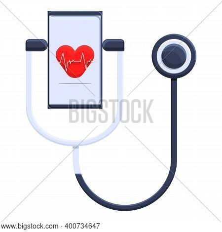Telemedicine Stethoscope Icon. Cartoon Of Telemedicine Stethoscope Vector Icon For Web Design Isolat