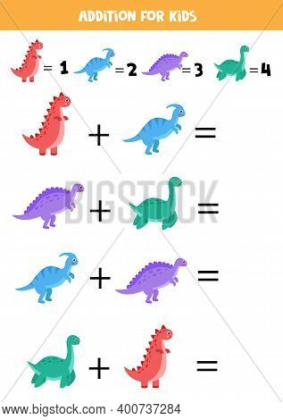 Addition For Kids With Cute Cartoon Dinosaurs.