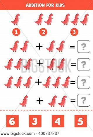 Addition Worksheet With Red Tyrannosaur. Math Game.