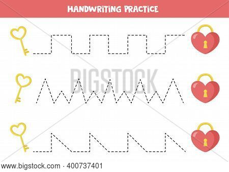 Tracing Lines With Valentine Elements. Trace The Lines With Lock And Key.