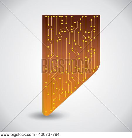 Microchip Background. Vector Microprocessor Visualization In A Chip. Yellow Solder Scheme On A Coppe