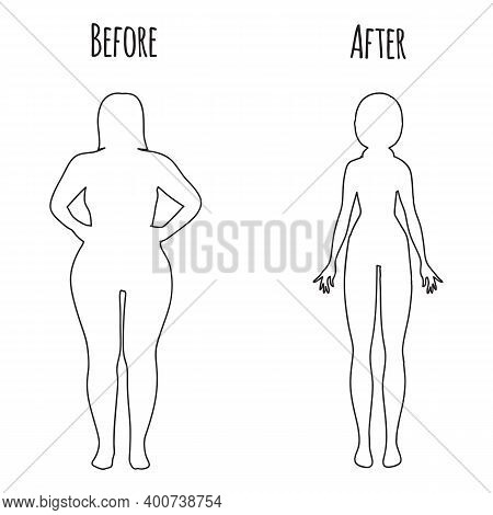 Fat And Slim Woman. Female Body Silhouette Before And After The Diet, Losing Weight. Female Body Lin